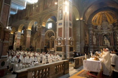 Pope Francis celebrates Mass during meeting with Augustinian priests in Rome